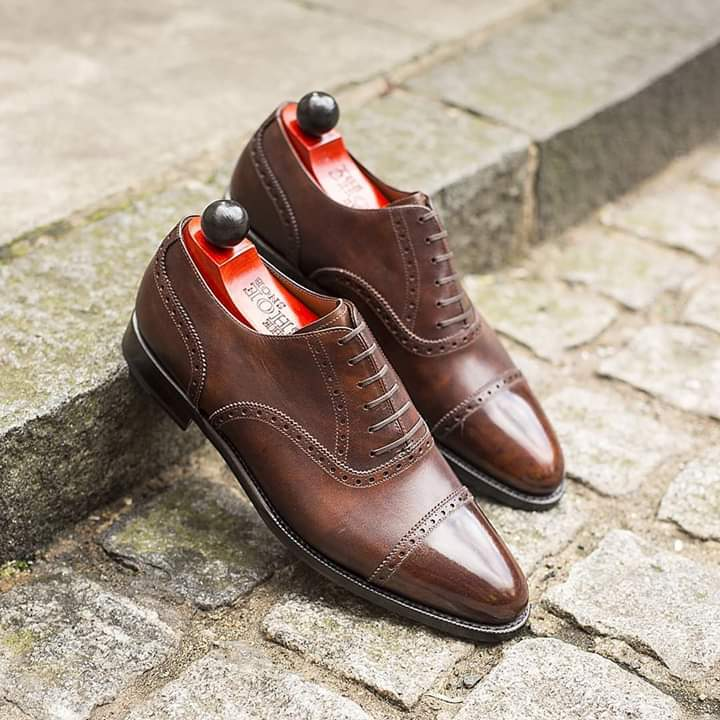 Handmade Men's Brown Two Tone Brogues Dress/Formal Oxford Leather Shoes