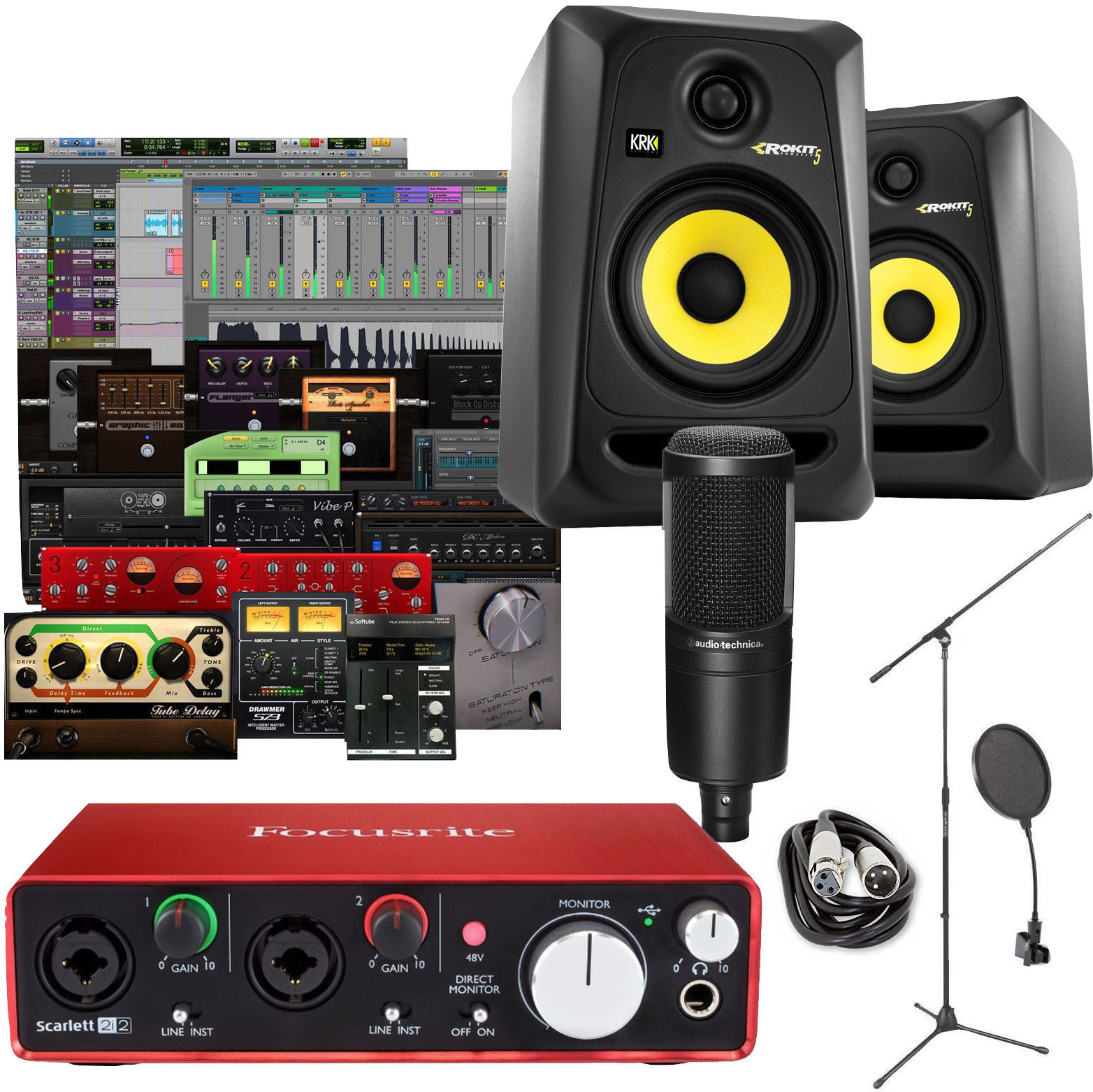 home recording studio package bundle audient audio technica krk pro tools audio midi interfaces. Black Bedroom Furniture Sets. Home Design Ideas