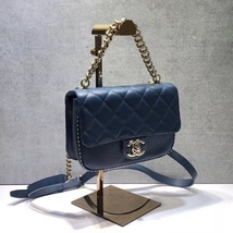 AUTHENTIC CHANEL BLUE QUILTED CAVIAR LEATHER 2 WAY TOP HANDLE MESSENGER BAG GHW image 3