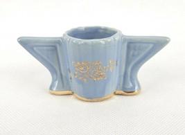 Vintage Porcelain Toothpick Holder, Blue w/Gold Trim, Winged Sides,  #TP... - $14.65
