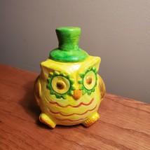 "Owl Figurine, Handpainted yellow owl, ceramic, 4.5"", bird figure"