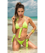 Mapale Neon Triangle Halter String Bikini w/ Thong Back Swimsuit 6574 - $32.99