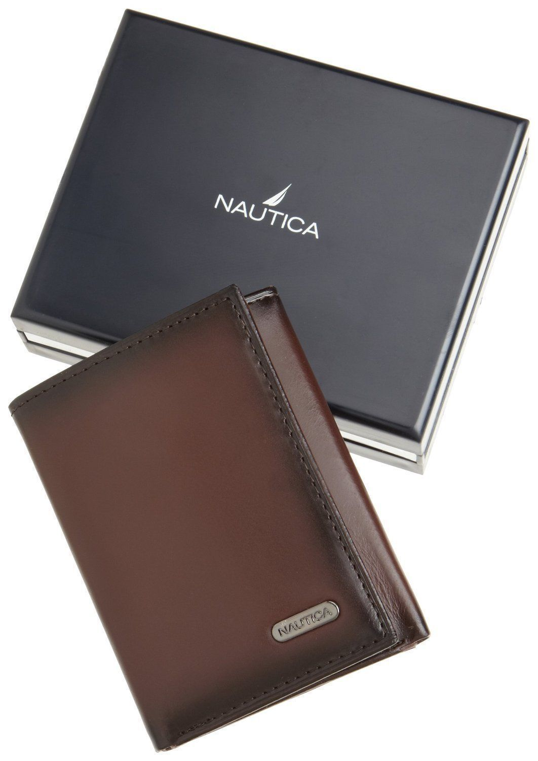 New Nautica Men's Premium Leather Credit Card Id Wallet Trifold Brown 31NU11X017
