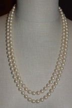 VENDOME Faux Glass Pearl Clear Rhinestone Wedding Dual Strand Necklace Vintage - $74.25
