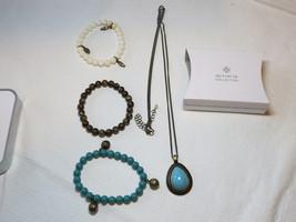Ladies Womens Avon Blue Atlantic Long Necklace & Stretch Bracelet Gift Set NIP;; - $39.59