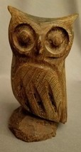 "OWL Hand Carved Hardwood 4.75"" Paperweight Collectible Figure Statue Figurine image 2"