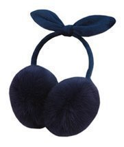 Simple Winter Bowknot Women Faux Fur Outdoor Ear Warm Earmuffs, Dark Blue - €11,18 EUR
