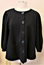 Anne Klein Jacket Sz.- 2X Black 100% Cotton - $29.95