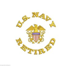 US Navy Crest Retired Veteran USN Officer Army Military Embroidered Polo Shirt - $32.95+