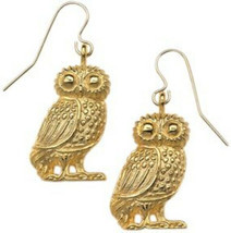 Antiqued 24k Gold-Plated Owl Earrings-Drop/Dangle Wildlife Earrings-Made... - $41.95