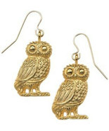Antiqued 24k Gold-Plated Owl Earrings-Drop/Dangle Wildlife Earrings-Made... - £34.29 GBP