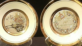 Golden 25th Anniversary Plate (Pair) AA20-2083 Vintage image 2