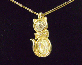 CZ Kitty Cat Pendant Cubic Zirconia Necklace Gold Plated Figural Sparkle Signed image 2