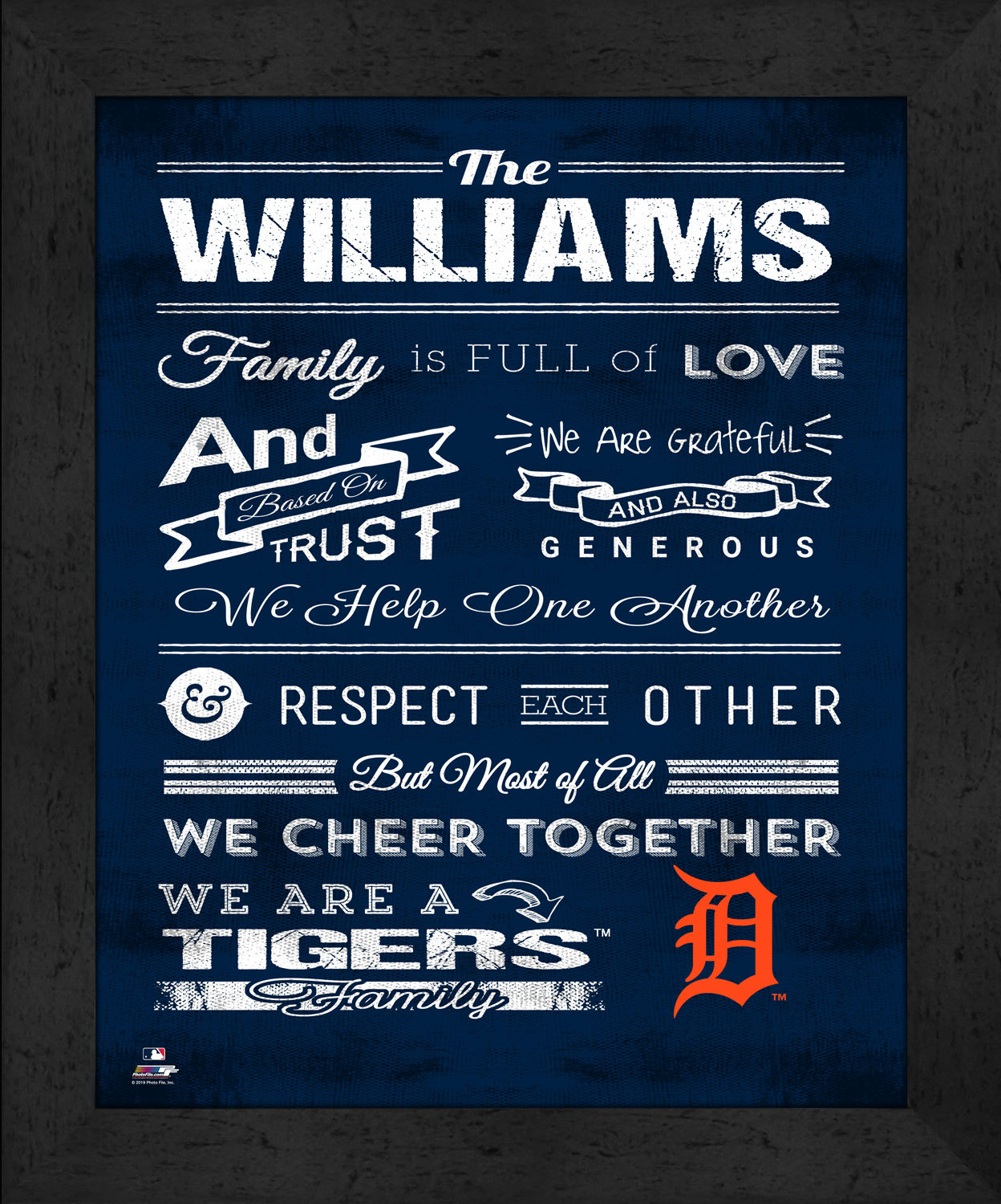 "Primary image for Detroit Tigers ""Family Cheer"" 13 x 16 Framed Print"
