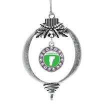 Inspired Silver Vermont Outline Circle Holiday Decoration Christmas Tree Ornamen - $14.69