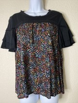 Life Style Womens Size PS Abstract Pattern Blouse Short Ruffle Sleeve - $13.86