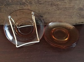 Lot #1 / Pink Depression Glass Saucer Set of 4 - $30.00