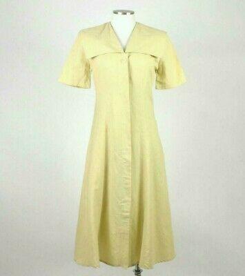 Vintage 80s Beige Cream Maxi Dress Cracker Jack Collar Short Sleeve Retro Size M