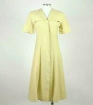 Vintage 80s Beige Cream Maxi Dress Cracker Jack Collar Short Sleeve Retro Size M image 1