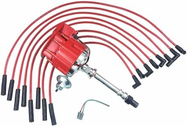 BBC CHEVY 396 454 SUPER HEI Distributor + RED 8mm SPARK PLUG WIRES STRAIGHT BOOT