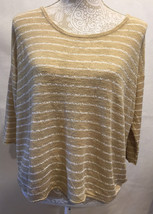 J Jill  Womens 3/4 Sleeve Top Blouse Tan White Career Striped Size M - $23.99