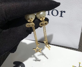 Authentic Christian Dior 2019 CD LOGO CHAIN STAR DANGLE DROP Earrings image 6