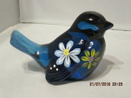 FENTON ART GLASS 2007 FLOWER POWER ON BLUE W/HP FLORAL BIRD FIGURINE - $39.99