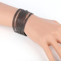 UE- Sophisticated Charcoal Gun Metal Tone Designer Beaded Bracelet - $14.99