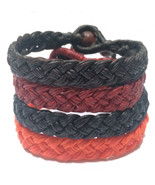 The Wide Thai Wristband Men's Waxed Cotton Bracelet Handmade Wristwear - $7.78