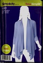 Uncut Size XXS XS S M L XL Easy Cardi Wrap Drape Simplicity 1961 Pattern... - $6.99