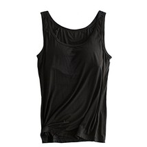 Womens Modal Built-in Bra Padded Camisole Yoga Tanks Tops Black XXL - $17.34