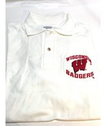 University of Wisconsin Vintage NCAA White Polo Shirt (New) By Anvil Knitwear - $34.99