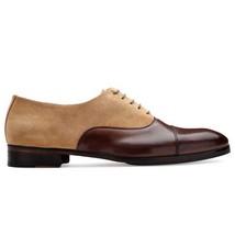 Handmade Men's Brown Leather & Beige Suede Dress/Formal Oxford Shoes image 1