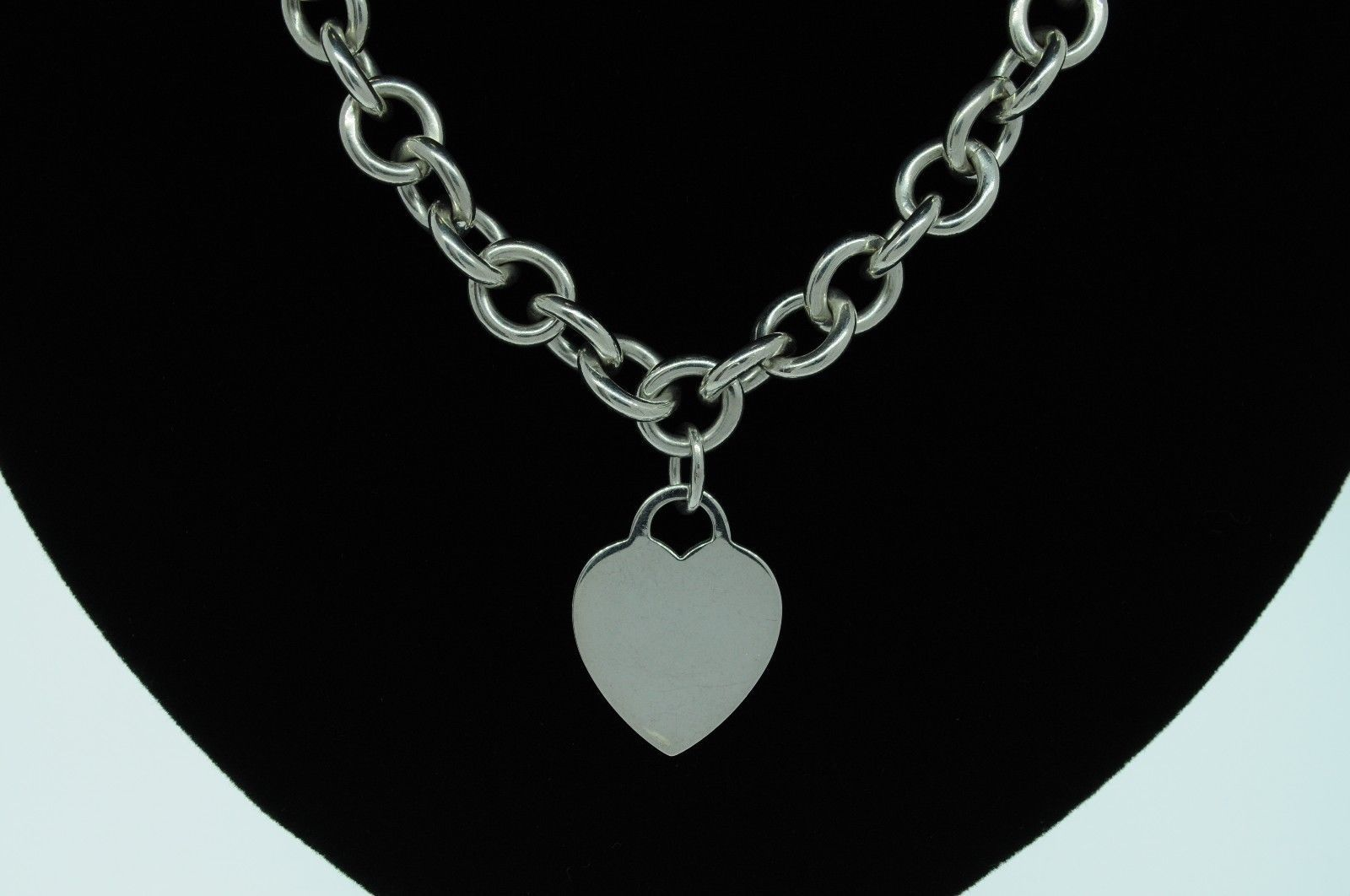 "TIFFANY & CO. Sterling Silver Heart Tag Charm Necklace (16"")"