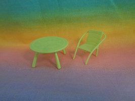 Mattel Polly Pocket Dollhouse Replacement Green Table and Chair Furniture  - $2.55