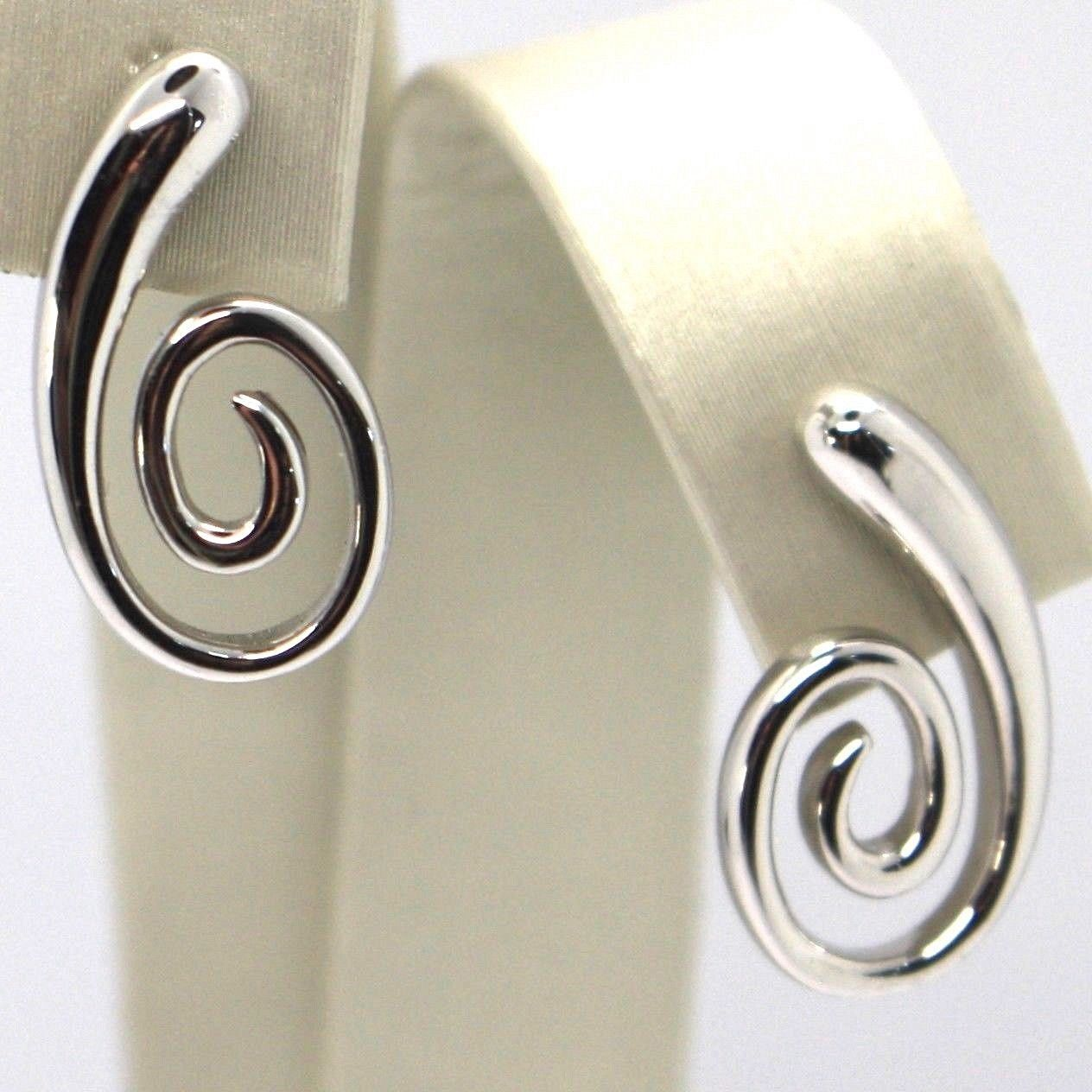DROP EARRINGS WHITE GOLD 750 18K, DROP, SPIRAL, CURVED