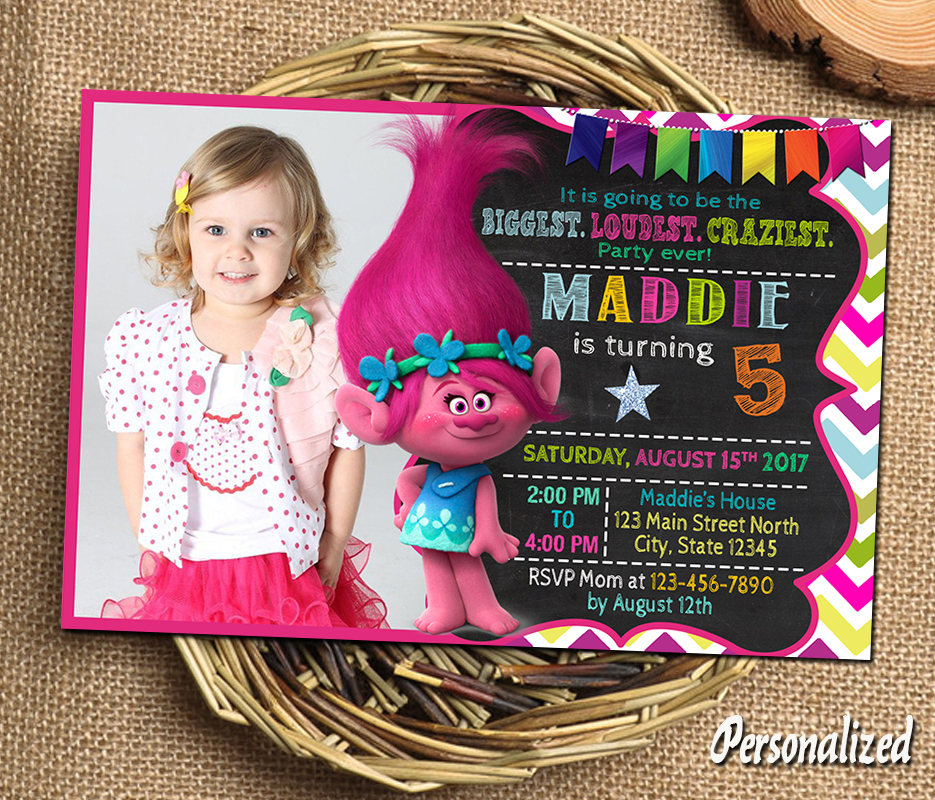 picture relating to Trolls Birthday Invitations Printable called Birthday invitation Trolls invitation Trolls and 50 identical