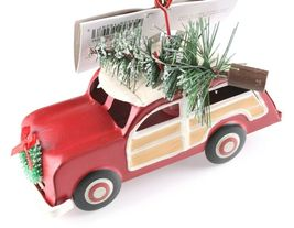 Tin Woody Wagon Car With Wreath and Christmas Tree Ornament NEW image 4