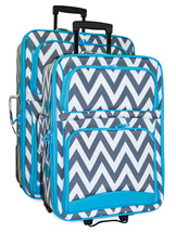 Chevron Striped Expandable 2 pc Piece Luggage Set for Travel Soft Sided ... - $116.82