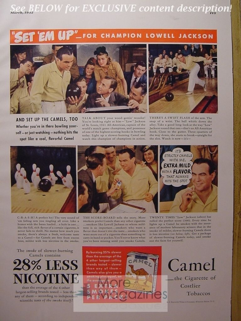 RARE 1942 Esquire Advertisement AD CAMEL Cigarettes LOWELL JACKSON Bowling WWII  - $8.00