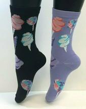 2 PAIRS Foozys Women's Socks COTTON CANDY & LOLLIPOPS, Black, Purple, NOP - $8.09