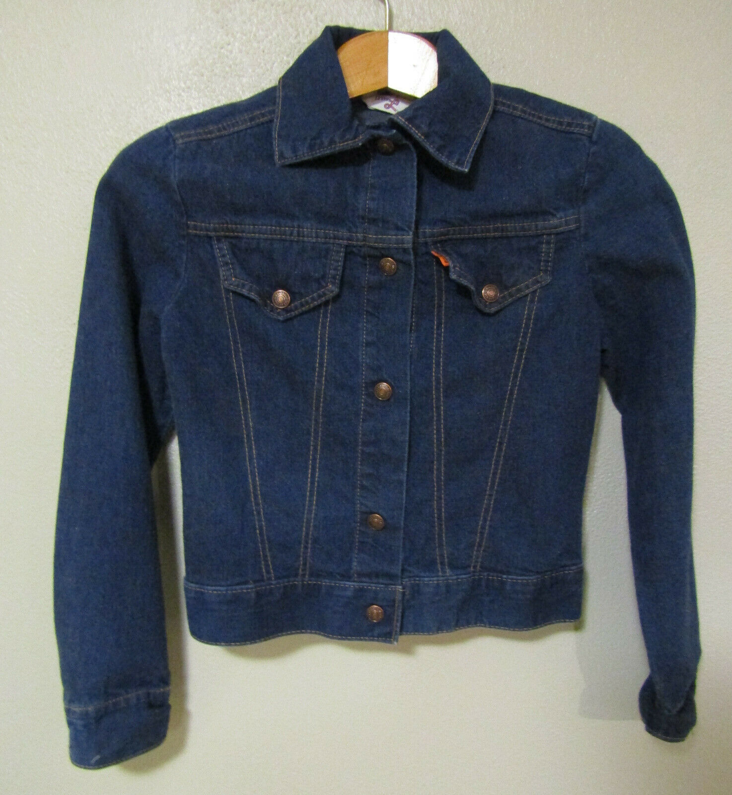 Primary image for Levis Strauss Boy Girl Blue Denim Jacket Size Small Child 1970s Trucker Made USA