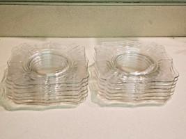 Vintage Set of Twelve (12) Clear Floral Etched Scalloped Glass Dessert P... - $89.10