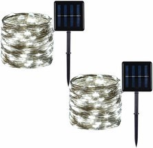 2 Pack 100 LED Solar Powered Copper Wire Outdoor String Lights