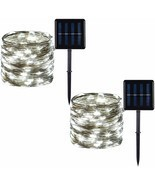 2 Pack 100 LED Solar Powered Copper Wire Outdoor String Lights - £9.80 GBP