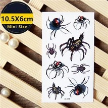 Unisex Waterproof Temporary Tattoos Stickers 3D Halloween Fake Spider Body Art - $5.99