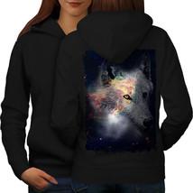 Wolf In Space Face Animal Sweatshirt Hoody Galaxy Animal Women Hoodie Back - $21.99+