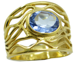 excellent Blue Shappire CZ Gold Plated Blue Ring genuine wholesale US gift - $24.99