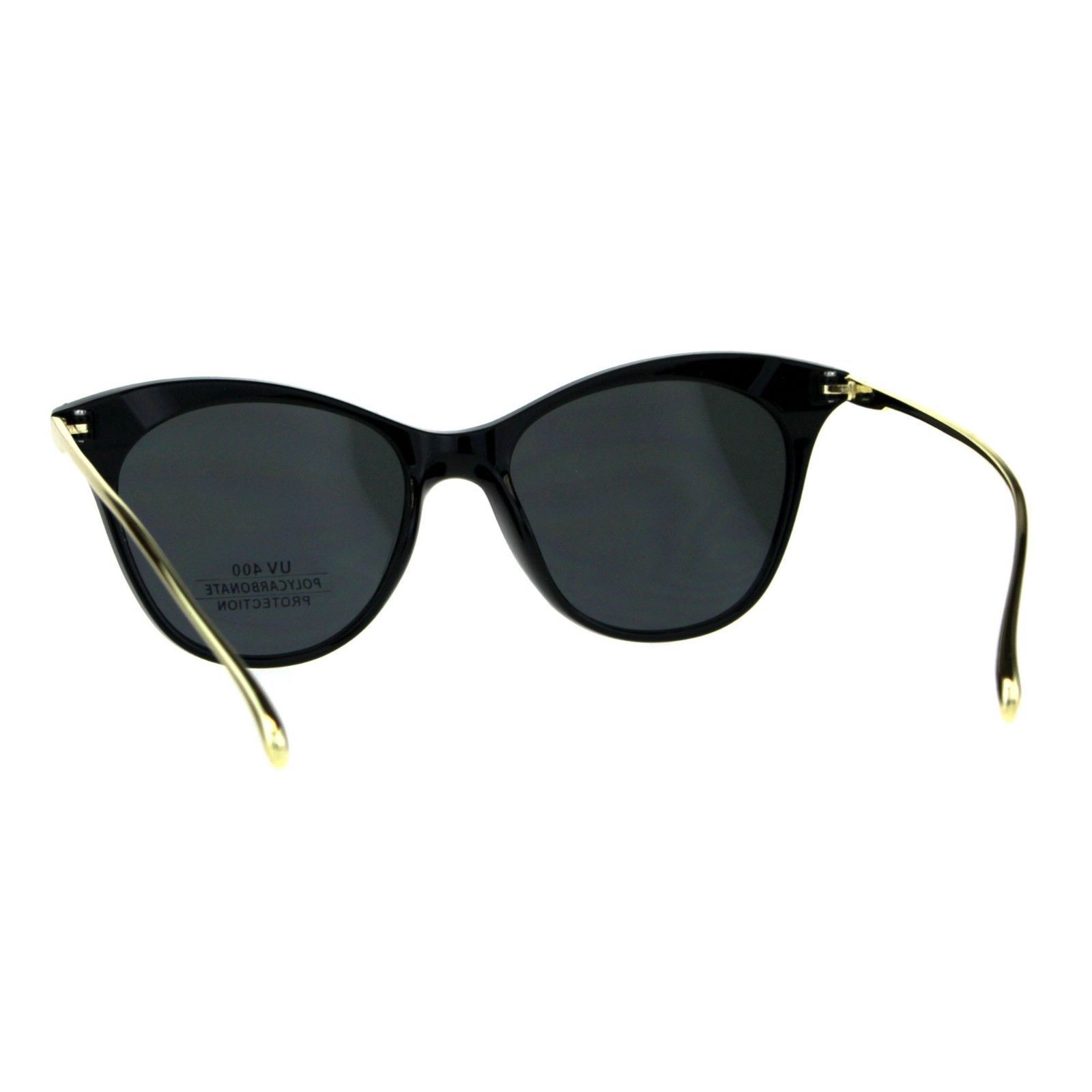 Butterfly Cateye Sunglasses Womens Chic Fashion Shades Gold Metal Temple