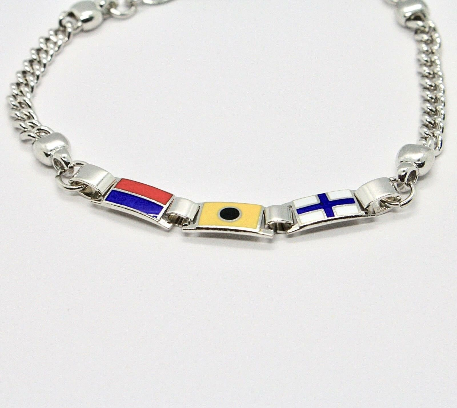 Armband 925 Silber Rhodiniert mit Flaggen Offz. Blaue Paspel Emaille Made in